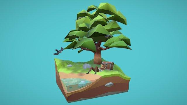 Lowpoly test scenery 3D Model