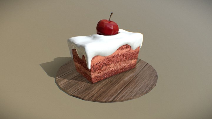Cake with Cherry 3D Model