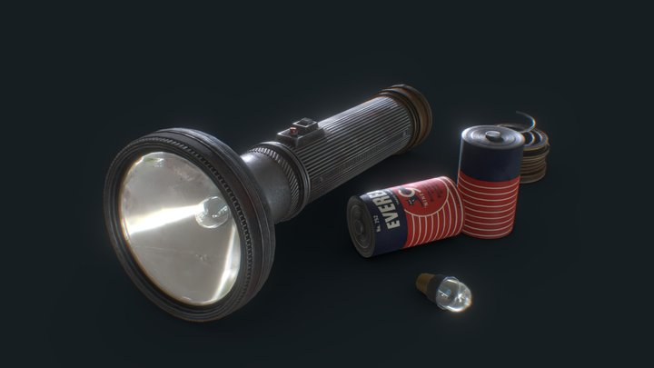 Vintage Police Flashlight with Batteries 3D Model