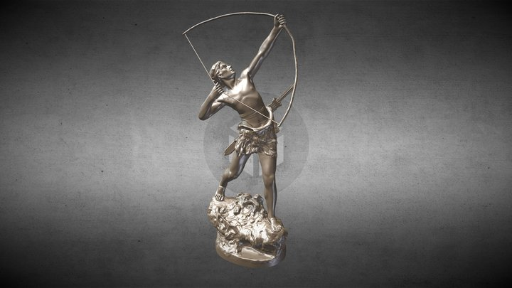 Bronze Statue - Archer With Bow 3D Model