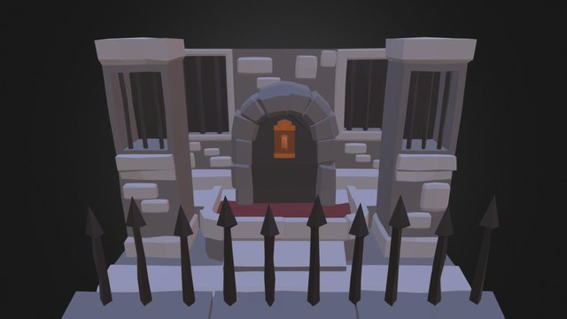 Lowpoly Dungeon Fountain 3D Model