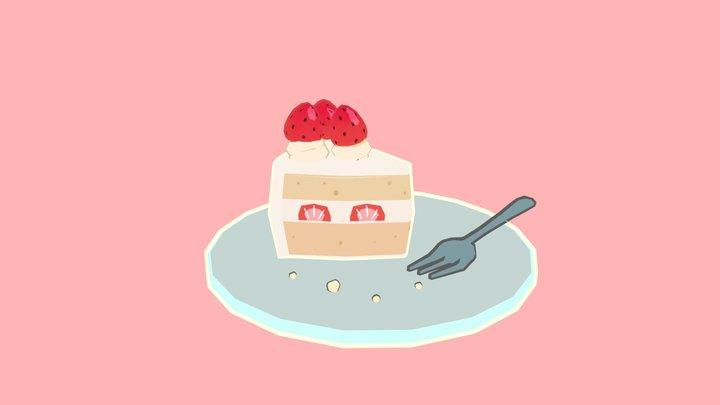 Strawberry Cream Cake 3D Model