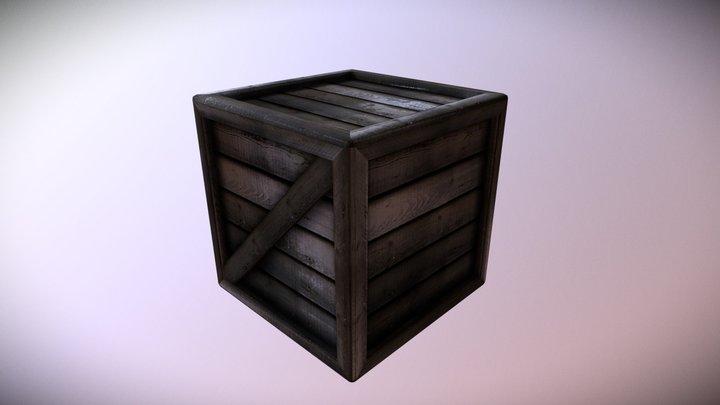 Dark and Wet Wooden Crate 3D Model