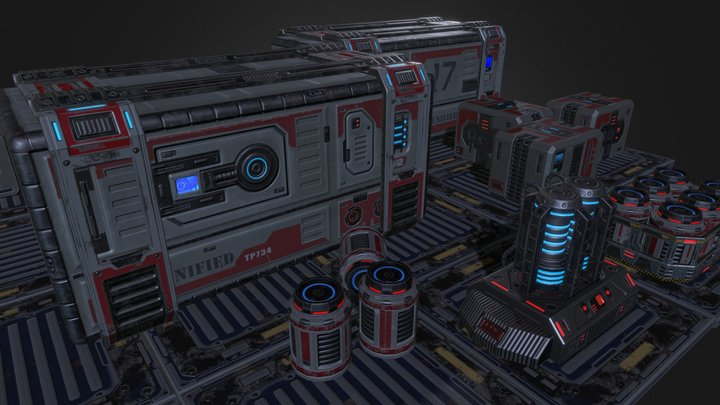 Sci-Fi Containers (PBR)Low-Poly 3D Model