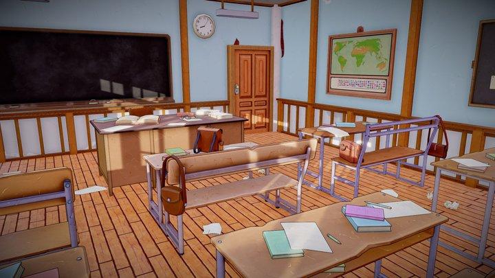 LowPoly Stylized Classroom 3D Model