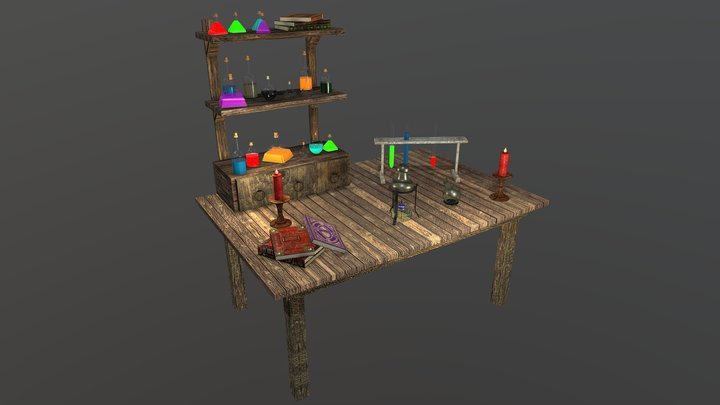 Fantasy Chemistry Table 3D Model