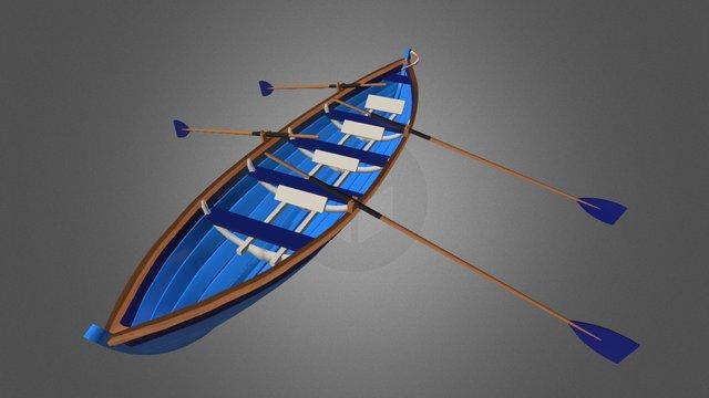St Ayles Skiff with oars & rudder 3D Model