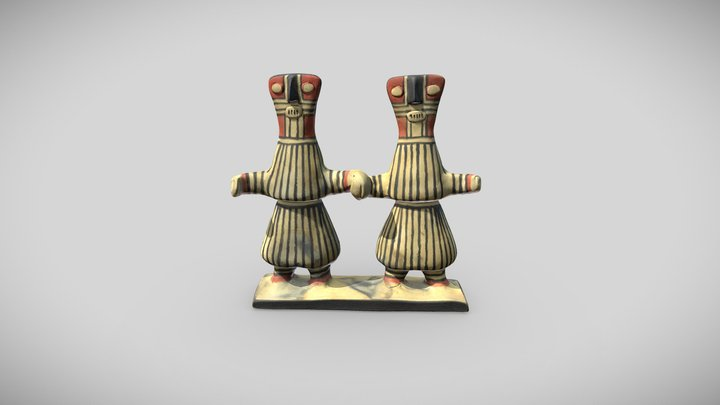 Litxoo statuette representing two dancing masks 3D Model