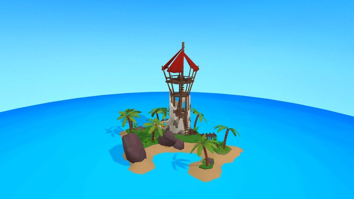 Stylized Pirate Training Grounds 3D Model