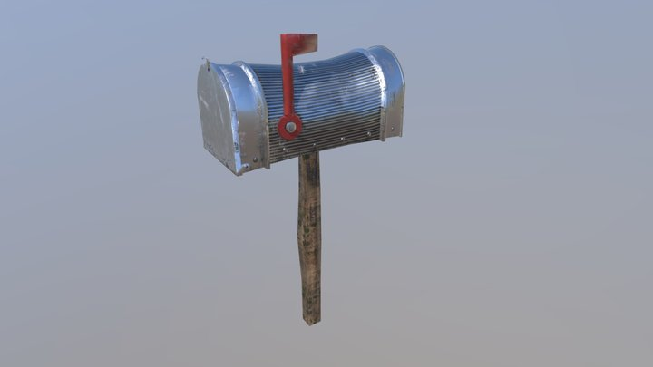 Old silver Mailbox (Lowpoly) 3D Model