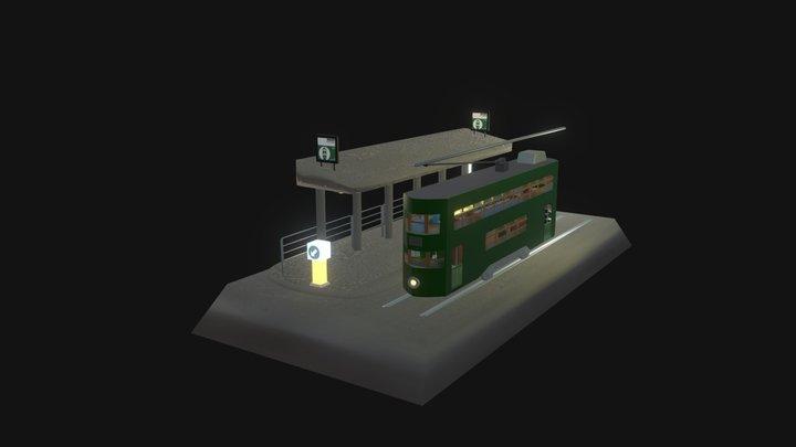 Hong Kong Tram Station 3D Model