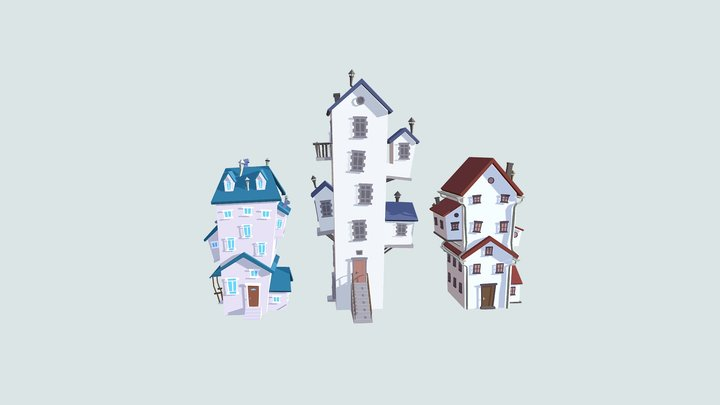 Low Poly Cartoon Houses Pack 3D Model