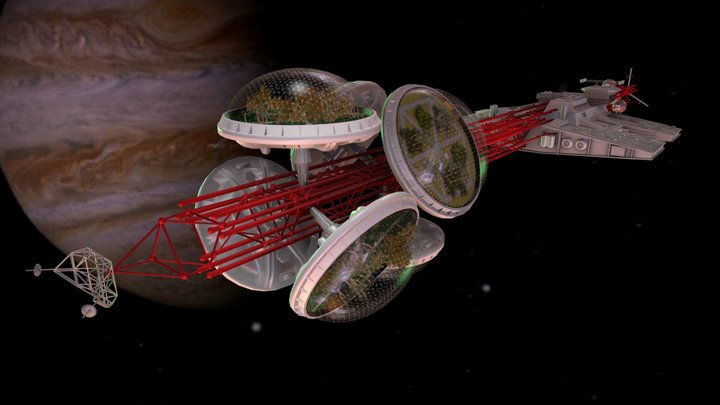 Valley Forge — Greenhouse Space Freighter 3D Model