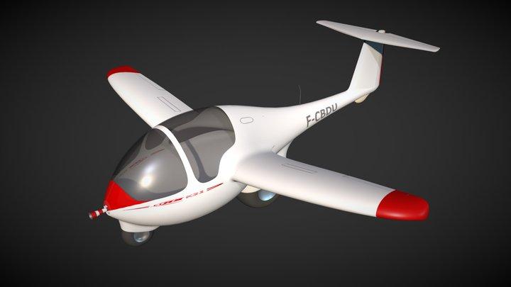 Caricature of glider ASK21 (F-CBDU) 3D Model