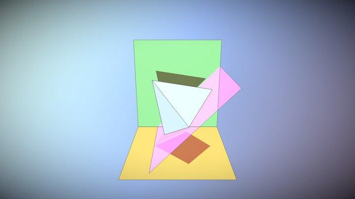 PIRAMIDE EN UN PLANO PERPENDICULAR II 3D Model