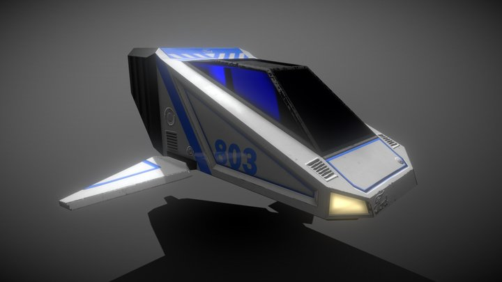Cyberpunk Low-Poly Space Travel Vehicle 3D Model