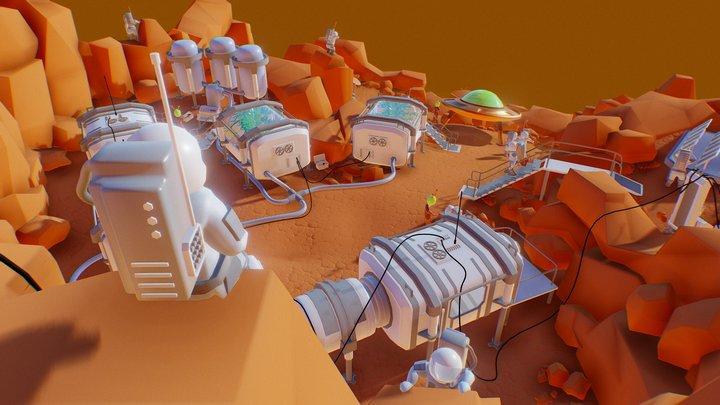 Desert planet Colony. Day 4. Final. 3D Model