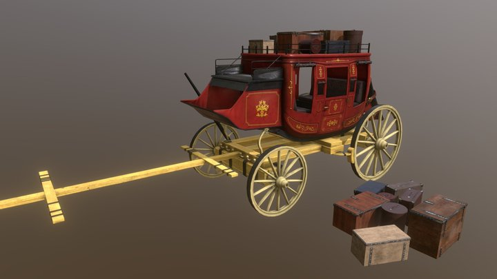 StageCoach - Western Style. 3D Model