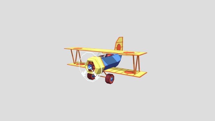 Low Poly Pixel Art WWI Biplane 3D Model