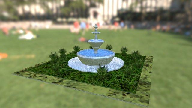 Jardín y Fuente 3D Model