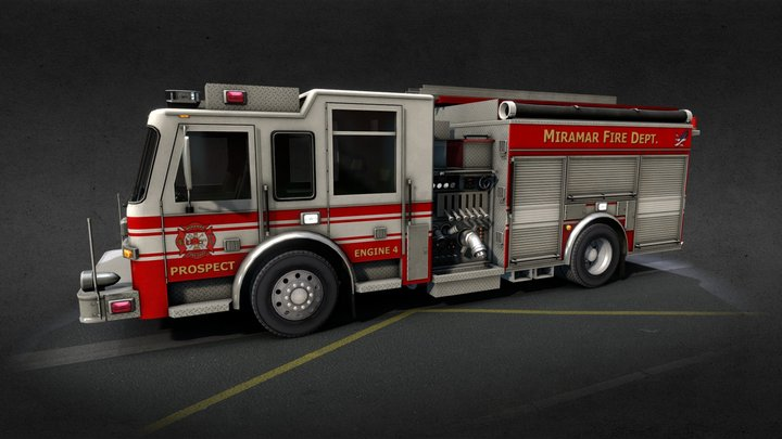 Generic American Fire Engine 3D Model
