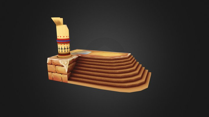 Stairs and column game asset 3D Model