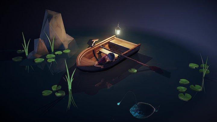 Boy in a Boat 3D Model