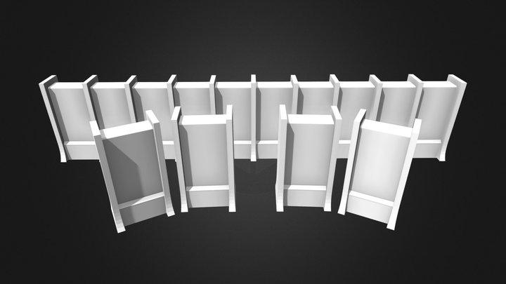 AoT Mauer Segmente Untexturiert 3D Model