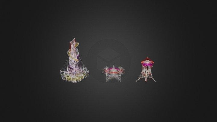 Three Columns 3D Model