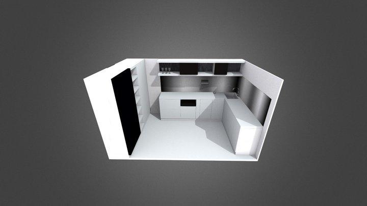 Stone + Aluminium Kitchen 3D Model