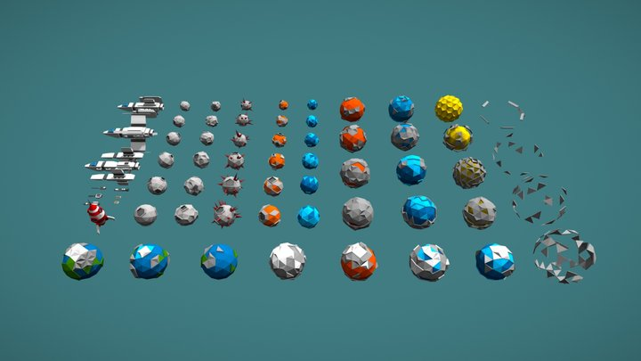 Low Poly Space Pack 3D Model