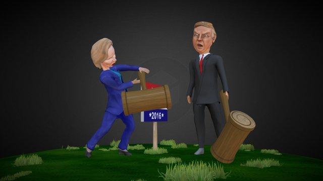 Clinton vs Trump (Bash the Vote 2016) 3D Model