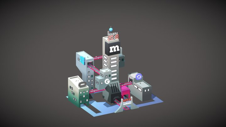 WebXR Town 3D Model