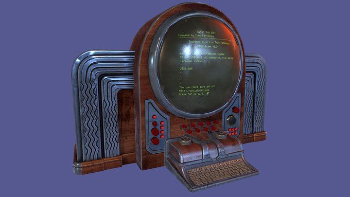 Vintage retro futuristic computer 3D Model
