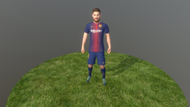 Low poly football player 3D Model