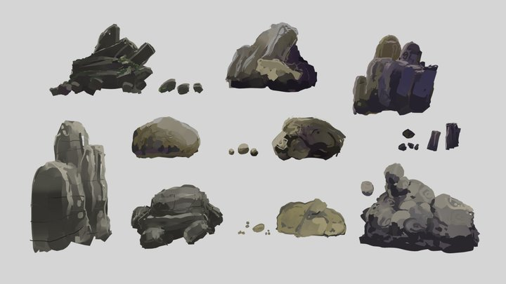 Fantasy Rocks  - style elements pack collection 3D Model