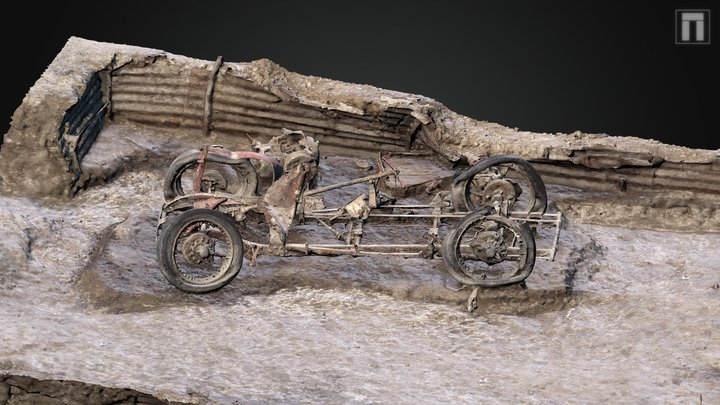 1932 MG J2 car excavation, Larkhill 3D Model