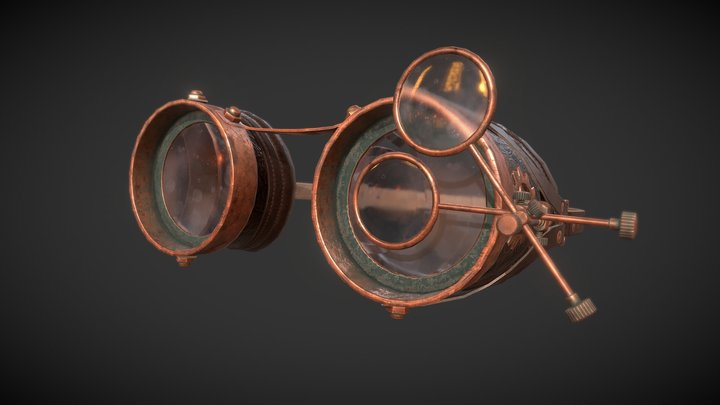 Antique Steampunk Glasses 3D Model