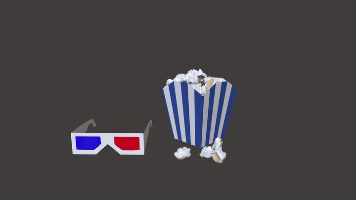 popcorn and 3d glasses 3D Model