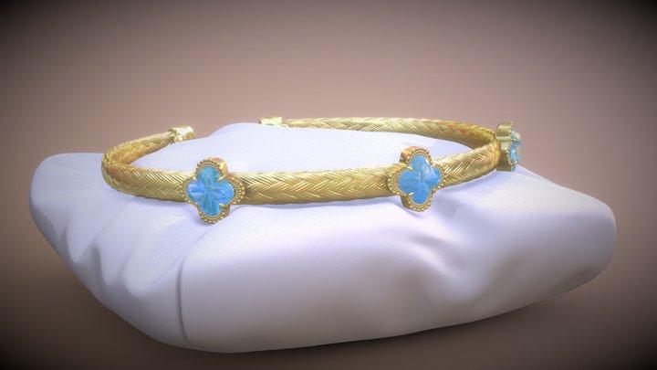Swiss Blue Topaz Woven Cuff Bracelet 3D Model