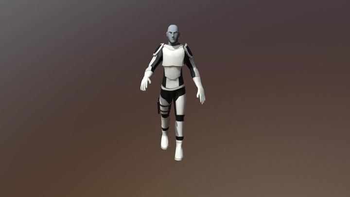 Sci-Fi Soldier With Light Armour (Animation) 3D Model