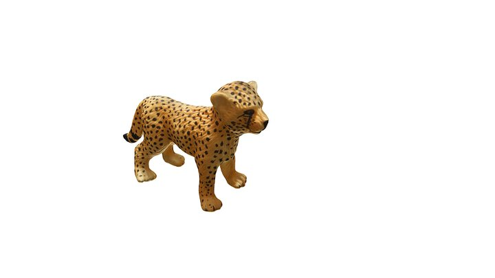Cheetah Cub Statue 3D Model