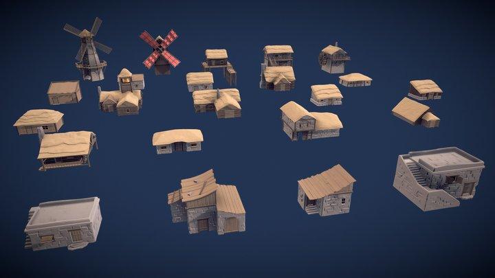 Stylized Medieval Village House 3D Model