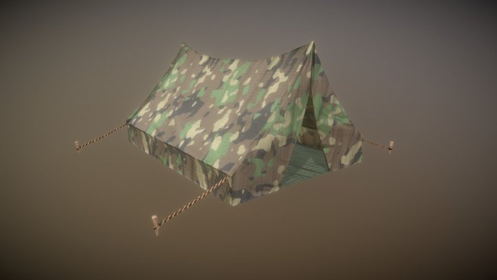 Game Ready Tent Camouflage Low Poly 3D Model