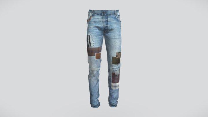 AMIRI Skinny Patchwork Jeans 3D Model