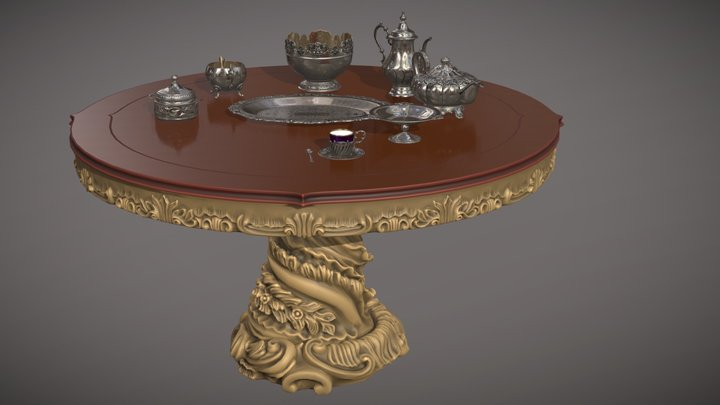 Silver service set (9 effectivepoly items) 3D Model