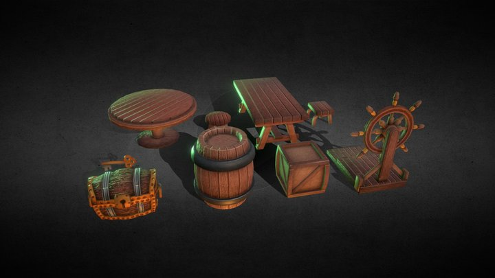 Lowpoly Pirate  Pack 3D Model