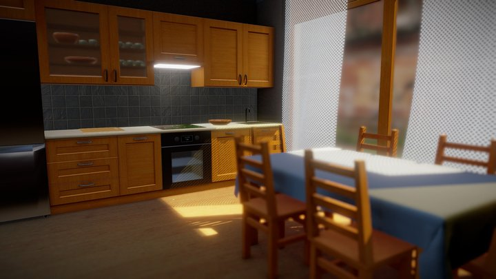 Wooden kitchen - Drewniana kuchnia 3D Model
