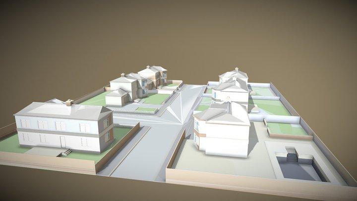 Palm Neighborhood Street Down The Lane 3D Model