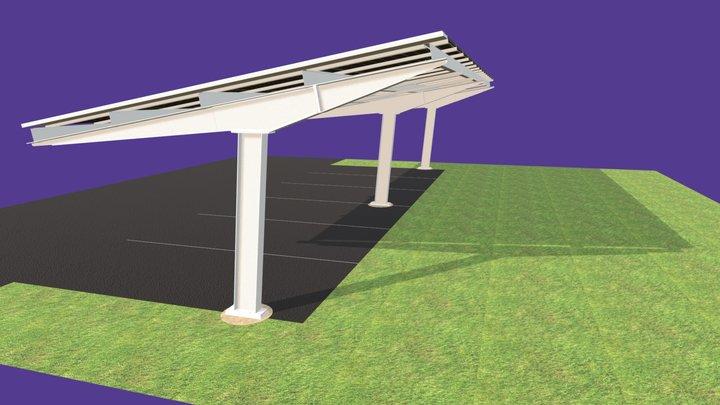 4 Panel Bay Solar Carport 3D Model